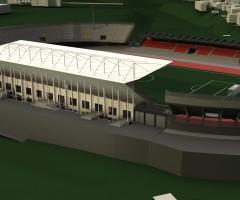 Render del progetto previsto allo stadio Del Duca
