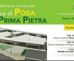 Cerimonia di posa della prima pietra della scuola di Folignano