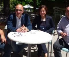 Presentati gli eventi dell'estate a Offida. Presenti Tonino Pierantozzi, Piero Antimiani, Isabella Bosano, Mario Sergiacomi