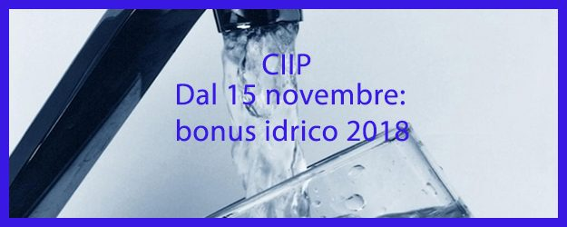 Bonus idrico 2018: dal 15 novembre i moduli